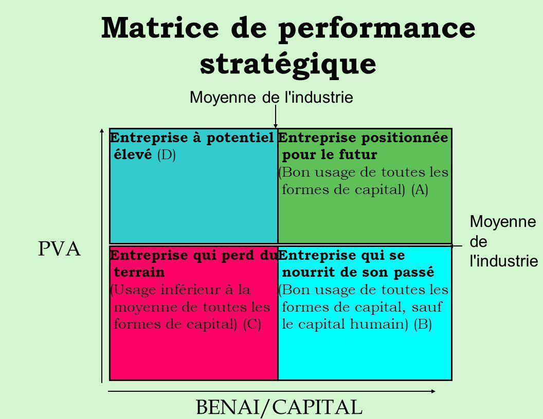 Matrice de performance stratégique Entreprise à potentiel élevé (D) Entreprise positionnée pour le futur (Bon usage de toutes les formes de capital) (