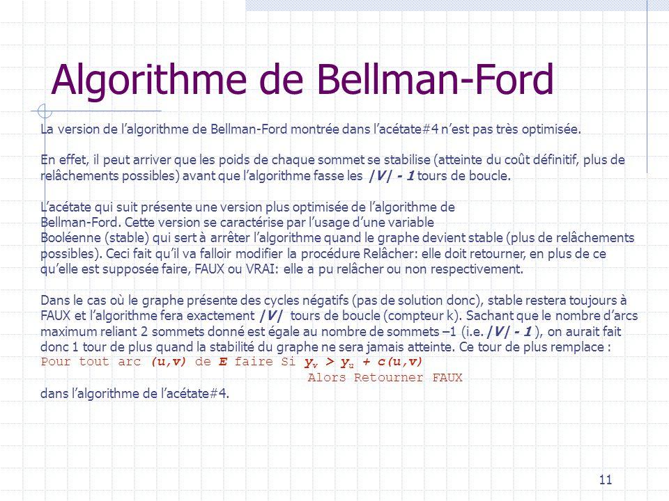 11 Algorithme de Bellman-Ford La version de lalgorithme de Bellman-Ford montrée dans lacétate#4 nest pas très optimisée.