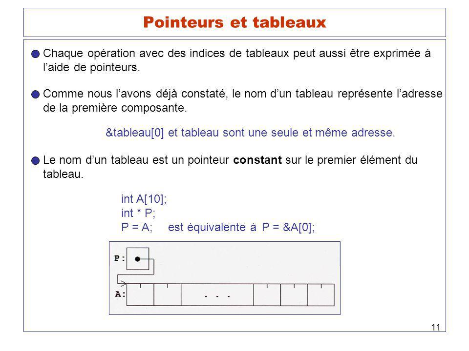 11 Pointeurs et tableaux Chaque opération avec des indices de tableaux peut aussi être exprimée à laide de pointeurs. Comme nous lavons déjà constaté,