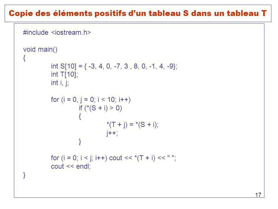 17 Copie des éléments positifs dun tableau S dans un tableau T #include void main() { int S[10] = { -3, 4, 0, -7, 3, 8, 0, -1, 4, -9}; int T[10]; int