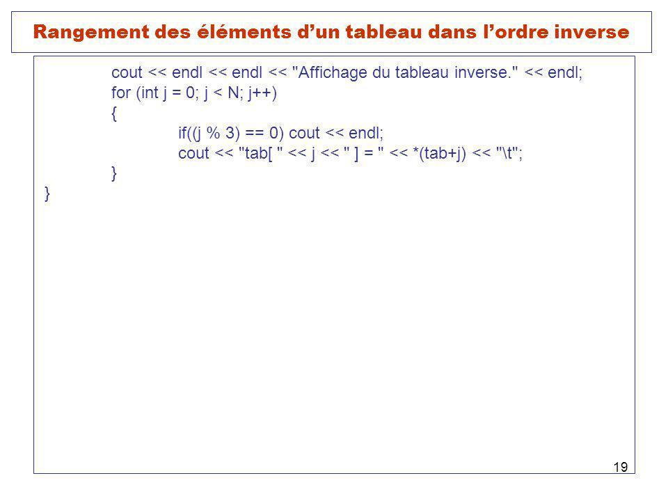 19 Rangement des éléments dun tableau dans lordre inverse cout << endl << endl << Affichage du tableau inverse. << endl; for (int j = 0; j < N; j++) { if((j % 3) == 0) cout << endl; cout << tab[ << j << ] = << *(tab+j) << \t ; }