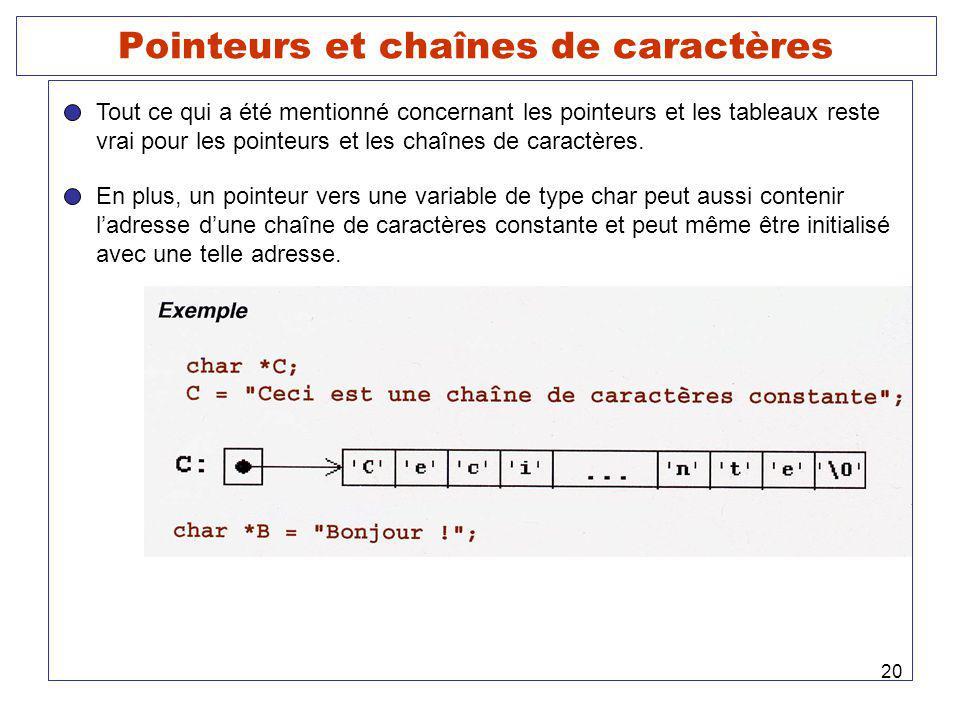 20 Pointeurs et chaînes de caractères Tout ce qui a été mentionné concernant les pointeurs et les tableaux reste vrai pour les pointeurs et les chaînes de caractères.
