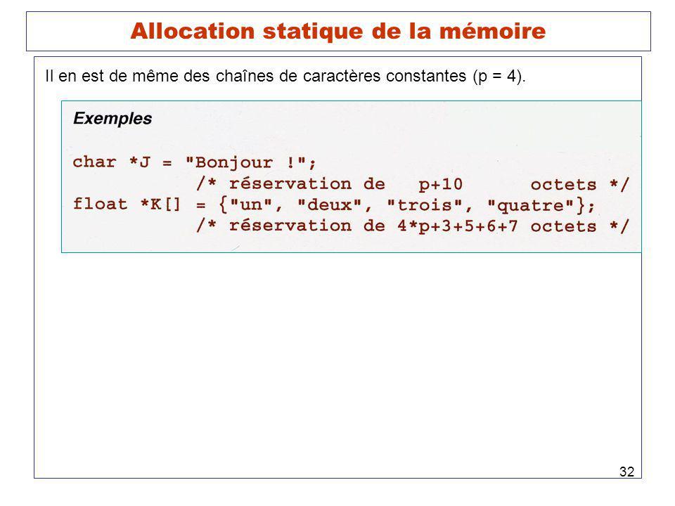 32 Allocation statique de la mémoire Il en est de même des chaînes de caractères constantes (p = 4).