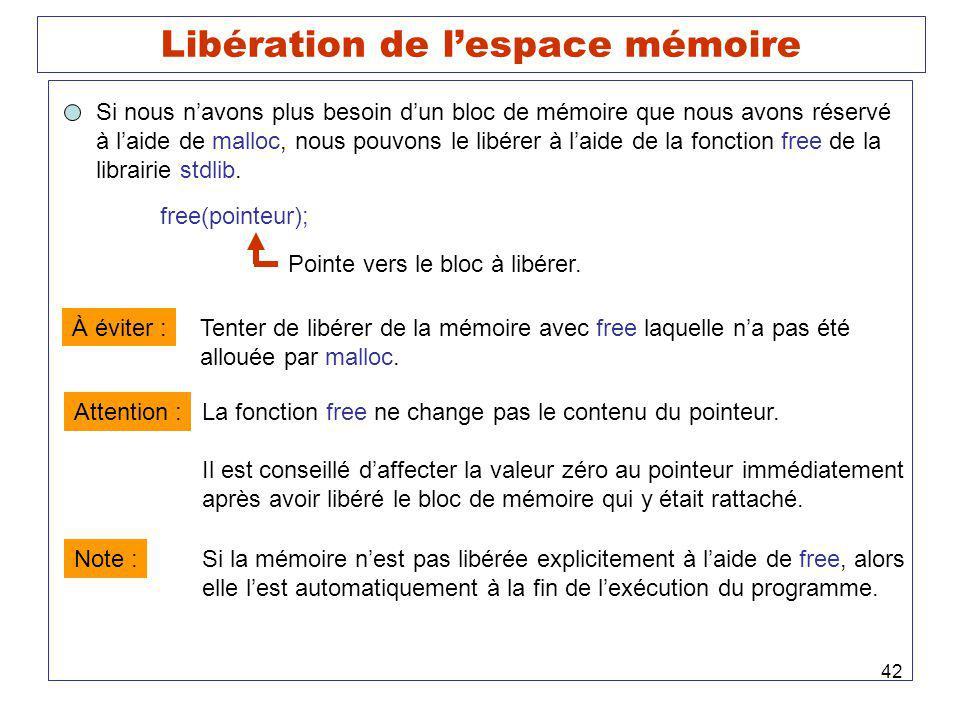 42 Libération de lespace mémoire Si nous navons plus besoin dun bloc de mémoire que nous avons réservé à laide de malloc, nous pouvons le libérer à laide de la fonction free de la librairie stdlib.