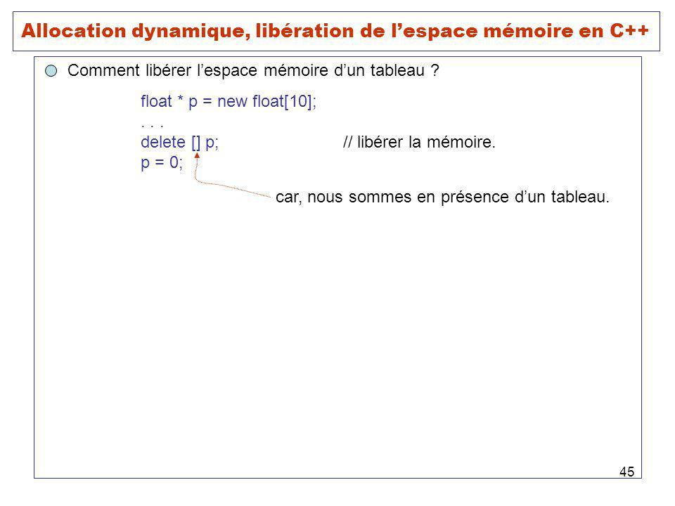 45 Allocation dynamique, libération de lespace mémoire en C++ Comment libérer lespace mémoire dun tableau ? float * p = new float[10];... delete [] p;