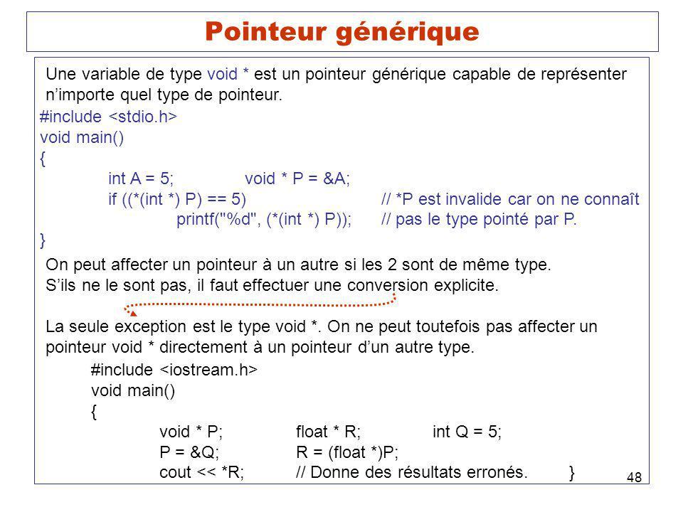 48 Pointeur générique #include void main() { int A = 5;void * P = &A; if ((*(int *) P) == 5)// *P est invalide car on ne connaît printf(
