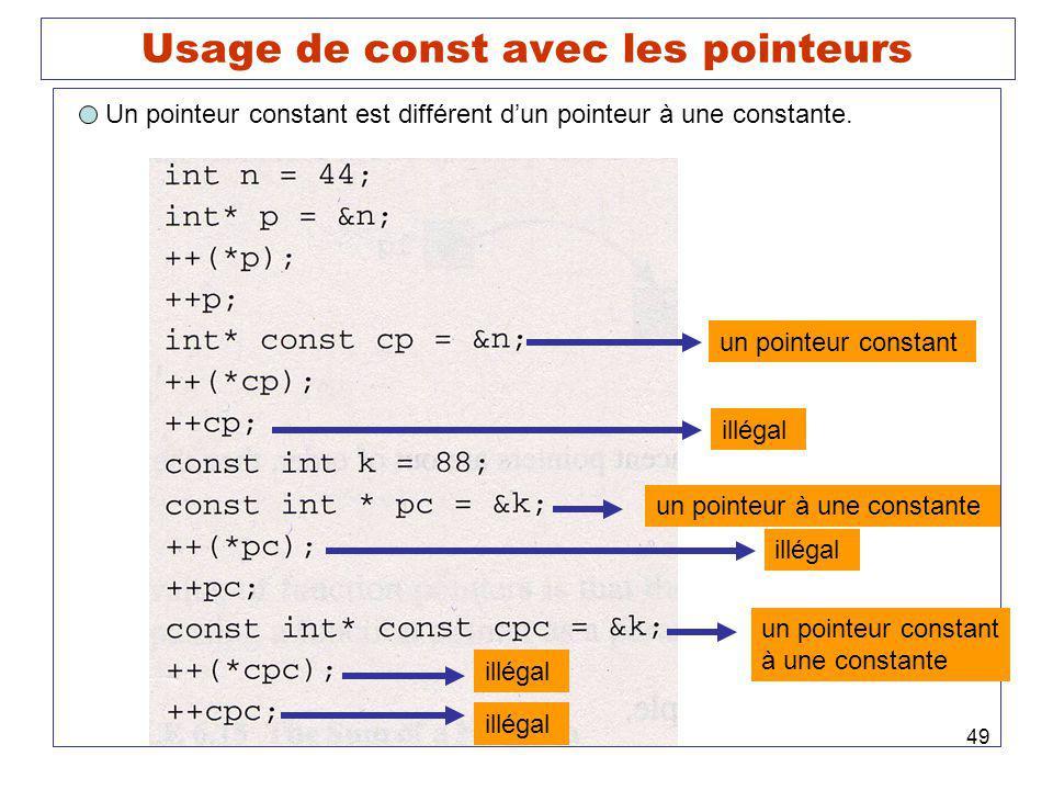 49 Usage de const avec les pointeurs Un pointeur constant est différent dun pointeur à une constante. un pointeur constant illégal un pointeur à une c