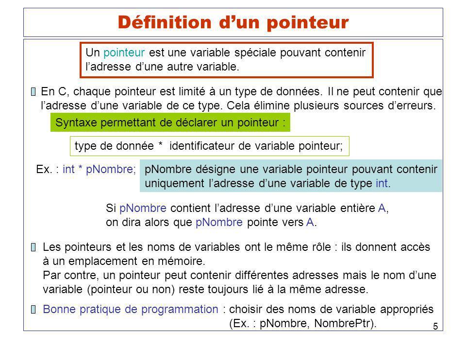 5 Définition dun pointeur Un pointeur est une variable spéciale pouvant contenir ladresse dune autre variable. En C, chaque pointeur est limité à un t