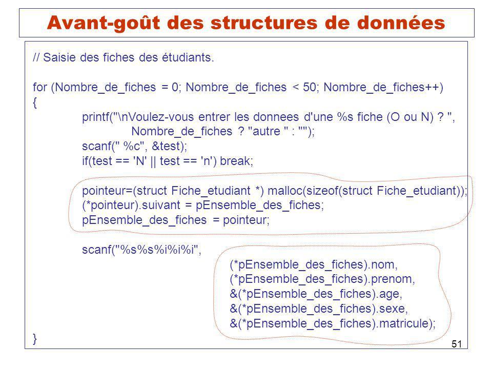 51 Avant-goût des structures de données // Saisie des fiches des étudiants. for (Nombre_de_fiches = 0; Nombre_de_fiches < 50; Nombre_de_fiches++) { pr
