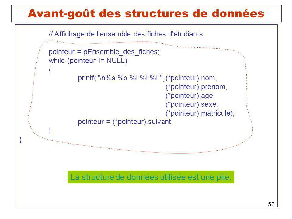 52 Avant-goût des structures de données // Affichage de l'ensemble des fiches d'étudiants. pointeur = pEnsemble_des_fiches; while (pointeur != NULL) {