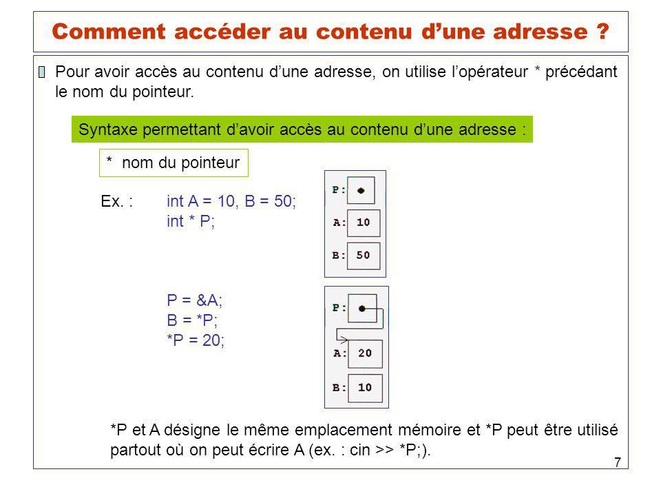 7 Comment accéder au contenu dune adresse ? Pour avoir accès au contenu dune adresse, on utilise lopérateur * précédant le nom du pointeur. Syntaxe pe