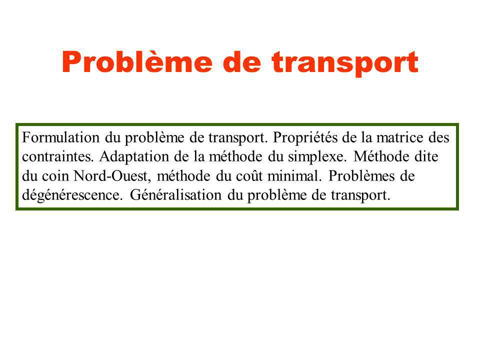 Problème de transport Formulation du problème de transport. Propriétés de la matrice des contraintes. Adaptation de la méthode du simplexe. Méthode di