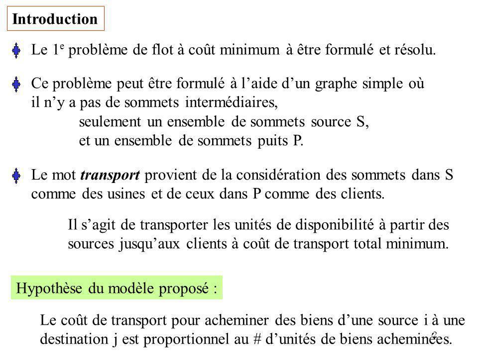 2 Le 1 e problème de flot à coût minimum à être formulé et résolu. Ce problème peut être formulé à laide dun graphe simple où il ny a pas de sommets i