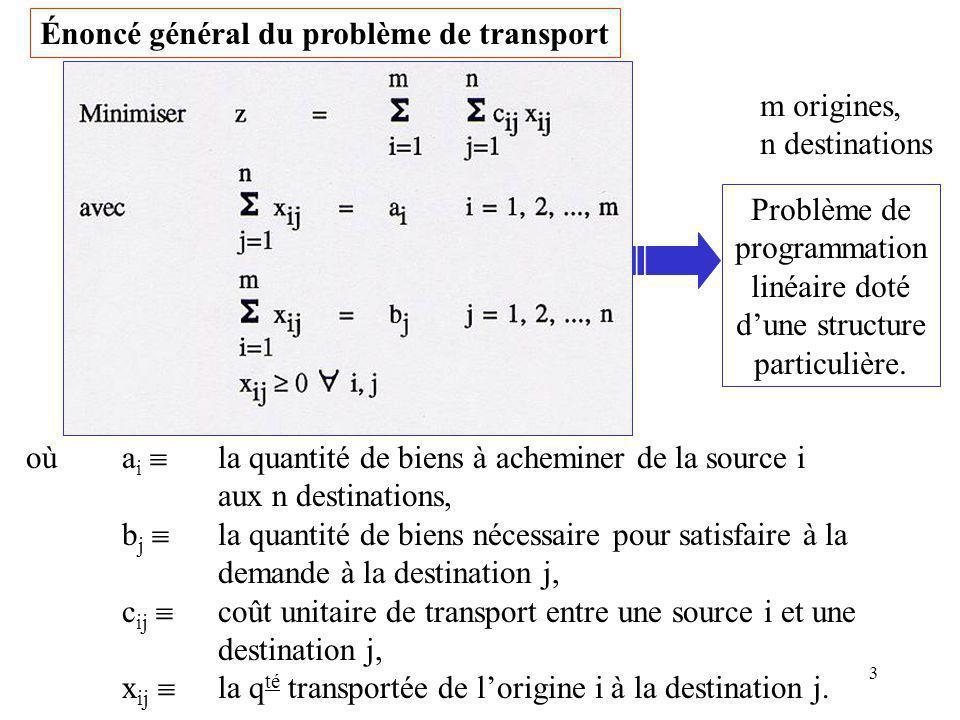 4 Au problème de transport est associé un graphe biparti G Chaque origine est représentée par un sommet O i, chaque destination par un sommet D j, chaque route de lorigine i à la destination j par un arc orienté de O i vers D j.