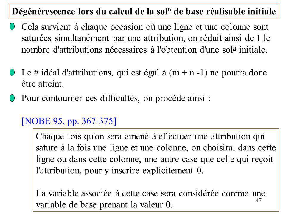 47 Dégénérescence lors du calcul de la sol n de base réalisable initiale Cela survient à chaque occasion où une ligne et une colonne sont saturées sim