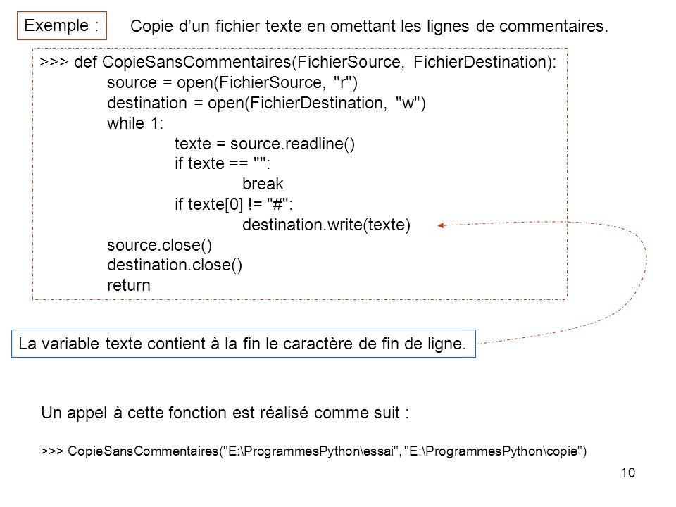 10 Copie dun fichier texte en omettant les lignes de commentaires. Exemple : >>> def CopieSansCommentaires(FichierSource, FichierDestination): source