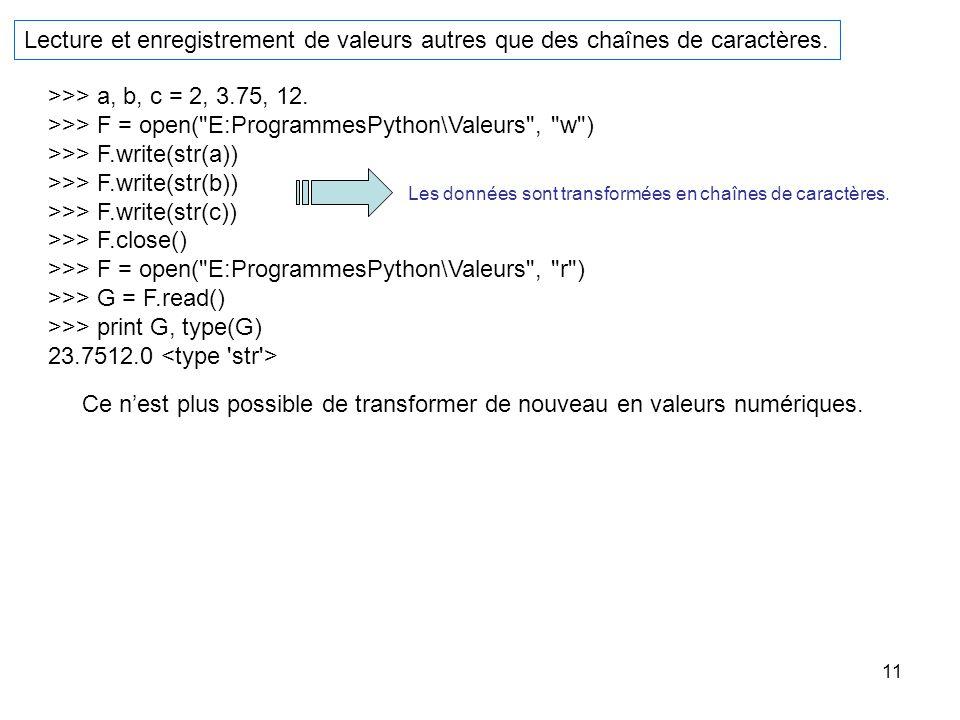 11 Lecture et enregistrement de valeurs autres que des chaînes de caractères. >>> a, b, c = 2, 3.75, 12. >>> F = open(