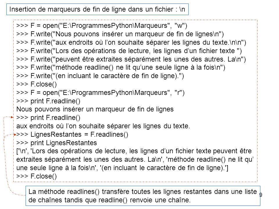 9 Insertion de marqueurs de fin de ligne dans un fichier : \n >>> F = open(