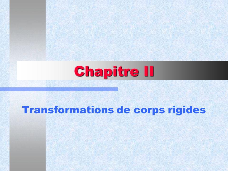 Chapitre II Transformations de corps rigides