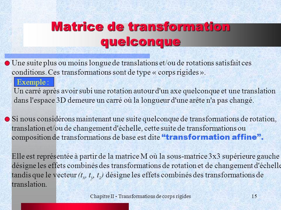 Chapitre II - Transformations de corps rigides15 Matrice de transformation quelconque Une suite plus ou moins longue de translations et/ou de rotation