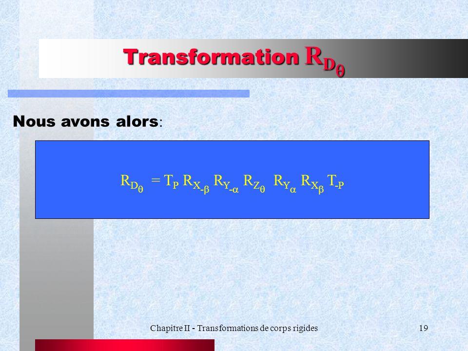 Chapitre II - Transformations de corps rigides19 Transformation R D Transformation R D Nous avons alors : R D = T P R X - R Y - R Z R Y R X T -P