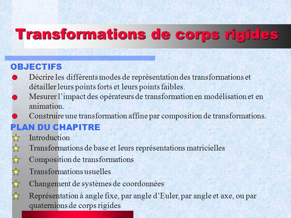 Transformations de corps rigides OBJECTIFS Décrire les différents modes de représentation des transformations et détailler leurs points forts et leurs