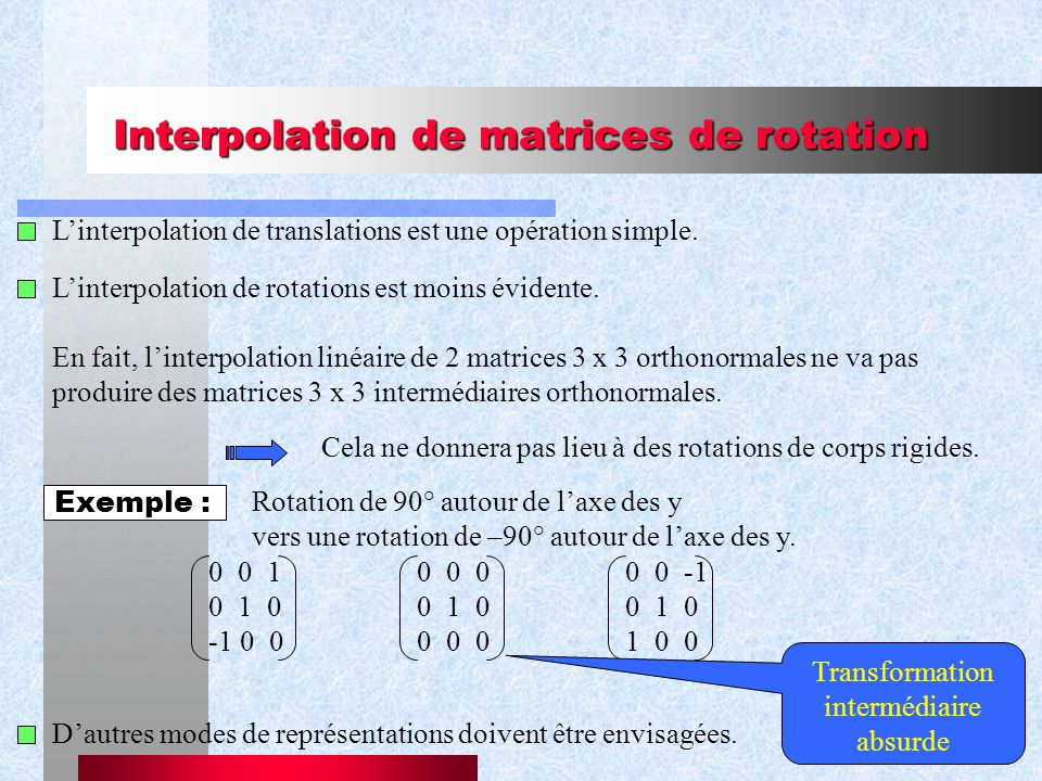 31 Interpolation de matrices de rotation Linterpolation de translations est une opération simple.