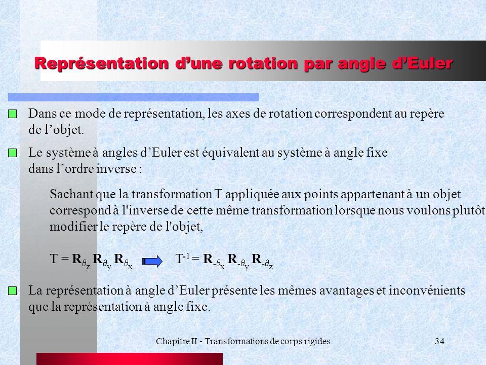Chapitre II - Transformations de corps rigides34 Représentation dune rotation par angle dEuler Dans ce mode de représentation, les axes de rotation co