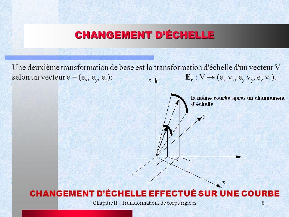 Chapitre II - Transformations de corps rigides8 CHANGEMENT DÉCHELLE Une deuxième transformation de base est la transformation d'échelle d'un vecteur V