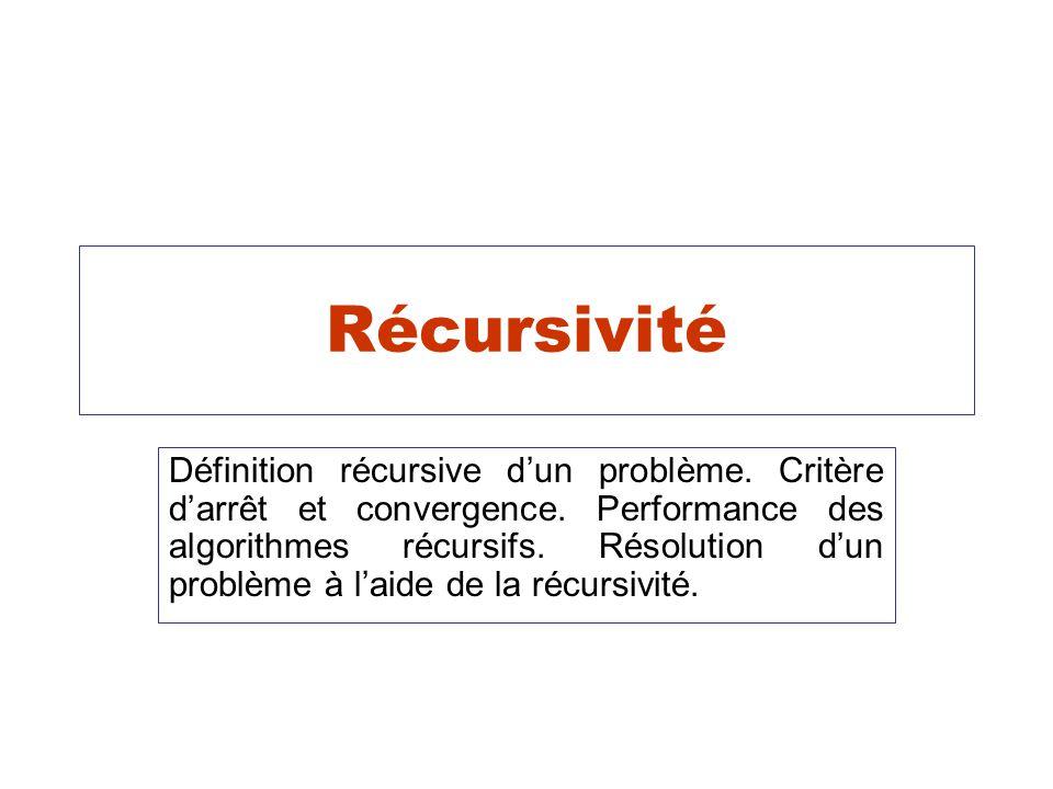 Récursivité Définition récursive dun problème. Critère darrêt et convergence. Performance des algorithmes récursifs. Résolution dun problème à laide d
