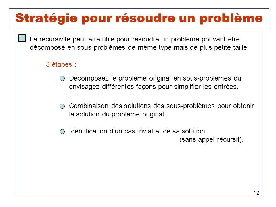 12 Stratégie pour résoudre un problème La récursivité peut être utile pour résoudre un problème pouvant être décomposé en sous-problèmes de même type mais de plus petite taille.