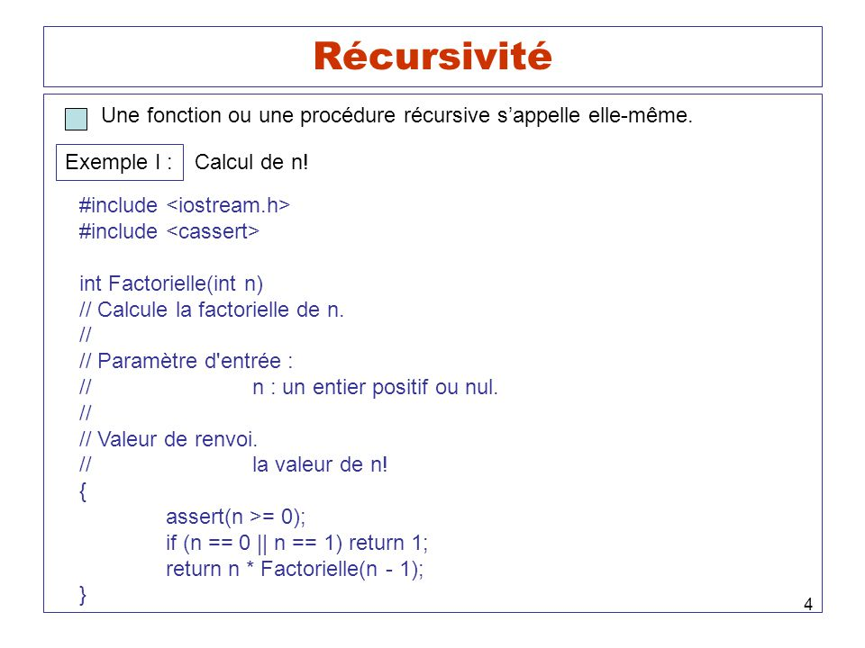 4 Récursivité Une fonction ou une procédure récursive sappelle elle-même. Exemple I : Calcul de n! #include int Factorielle(int n) // Calcule la facto