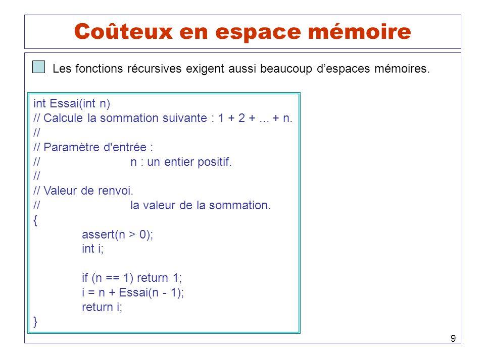 9 Coûteux en espace mémoire Les fonctions récursives exigent aussi beaucoup despaces mémoires. int Essai(int n) // Calcule la sommation suivante : 1 +