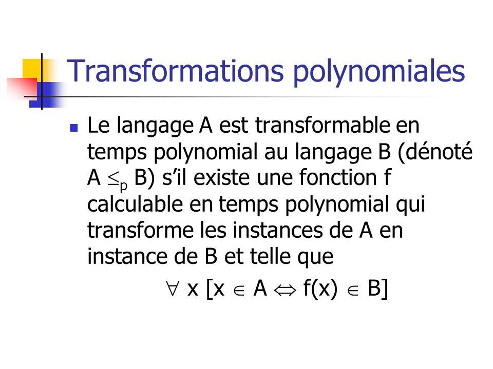 Transformations polynomiales Le langage A est transformable en temps polynomial au langage B (dénoté A p B) sil existe une fonction f calculable en te