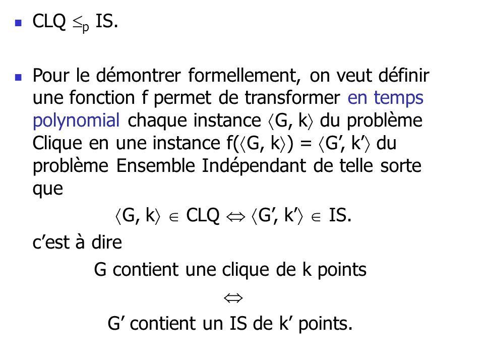 CLQ p IS. Pour le démontrer formellement, on veut définir une fonction f permet de transformer en temps polynomial chaque instance G, k du problème Cl