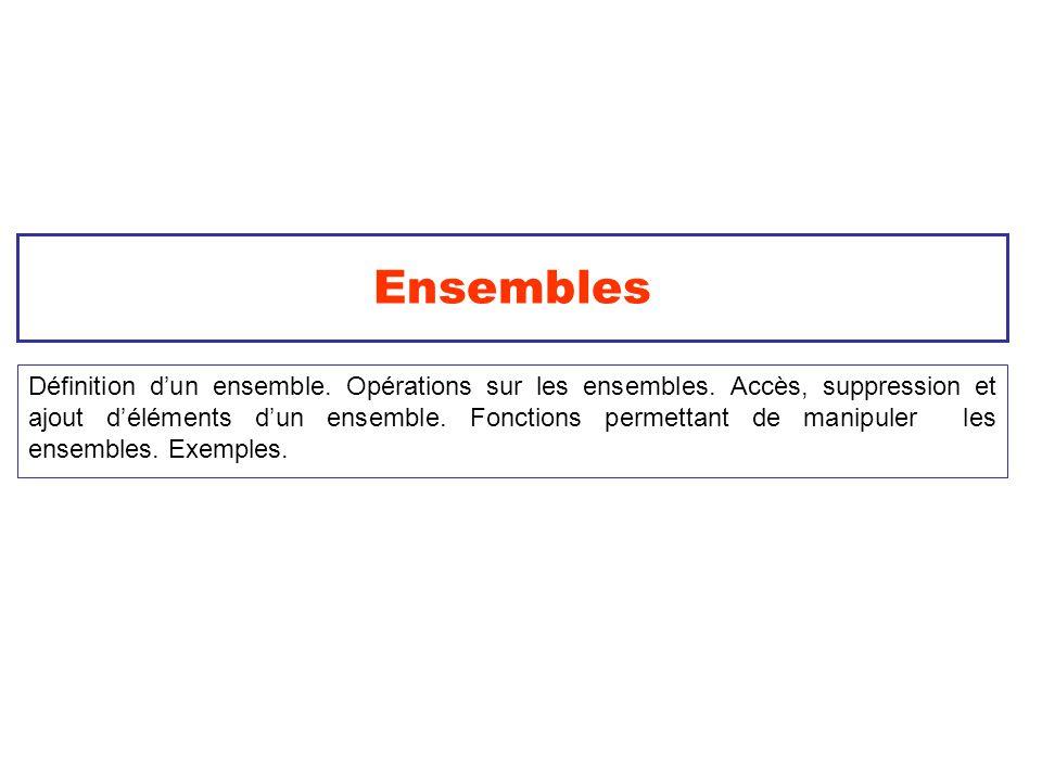 2 Les ensembles en Python Ce sont des ensembles non ordonnés de valeurs distinctes.