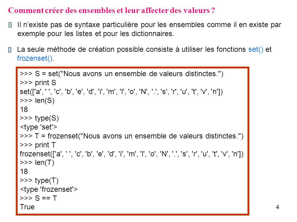 15 >>> s set([ e , o , v , x ]) >>> t = s.copy() >>> print t set([ x , e , o , v ]) >>> t.add( u ) >>> print s set([ e , o , v , x ]) >>> print t set([ x , e , u , o , v ]) Nous avons déjà mentionné lexistence de plusieurs méthodes sappliquant aux ensembles équivalentes à des opérateurs.