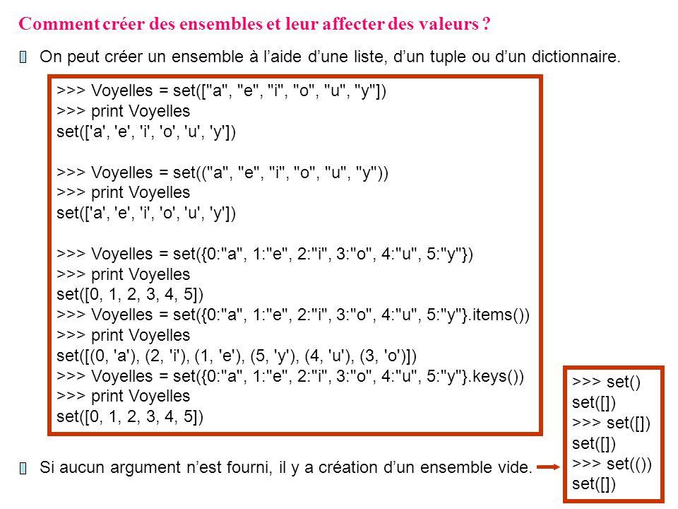 Comment créer des ensembles et leur affecter des valeurs ? On peut créer un ensemble à laide dune liste, dun tuple ou dun dictionnaire. >>> Voyelles =