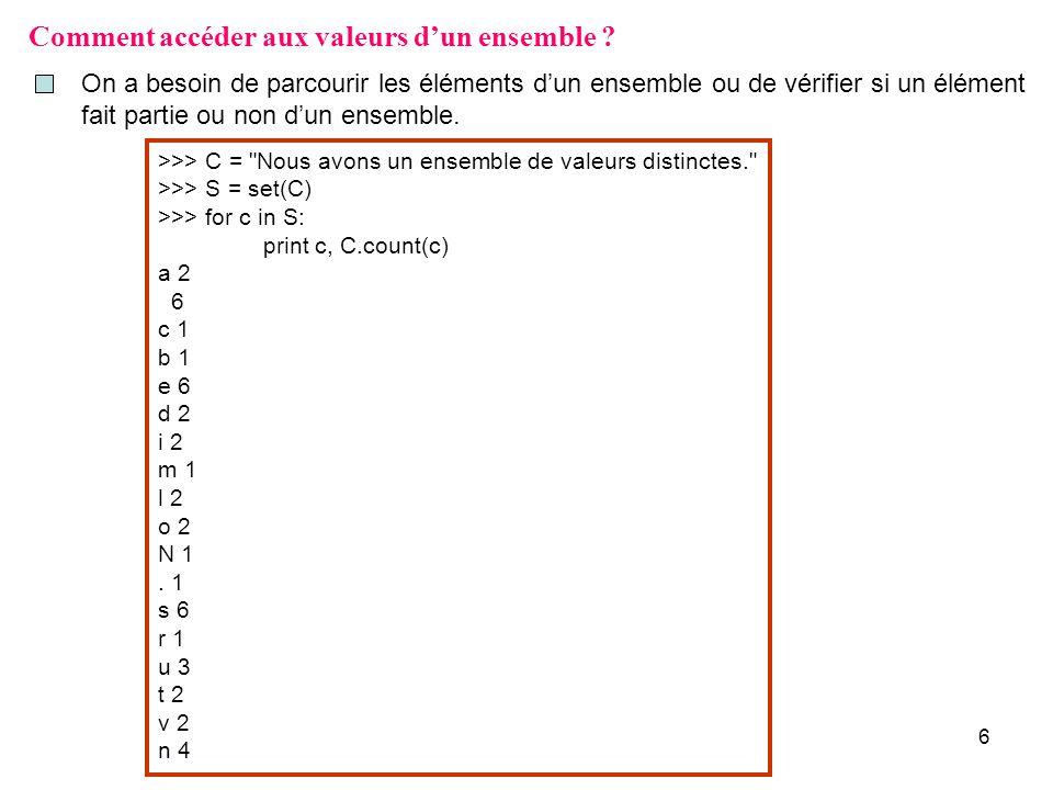 6 Comment accéder aux valeurs dun ensemble ? On a besoin de parcourir les éléments dun ensemble ou de vérifier si un élément fait partie ou non dun en