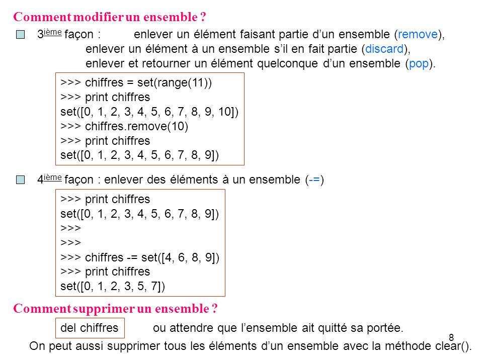 9 Opérateurs sur les ensembles de même type ou de types différents Appartenance (in, not in) Sert à déterminer si un élément est ou nest pas membre dun ensemble.