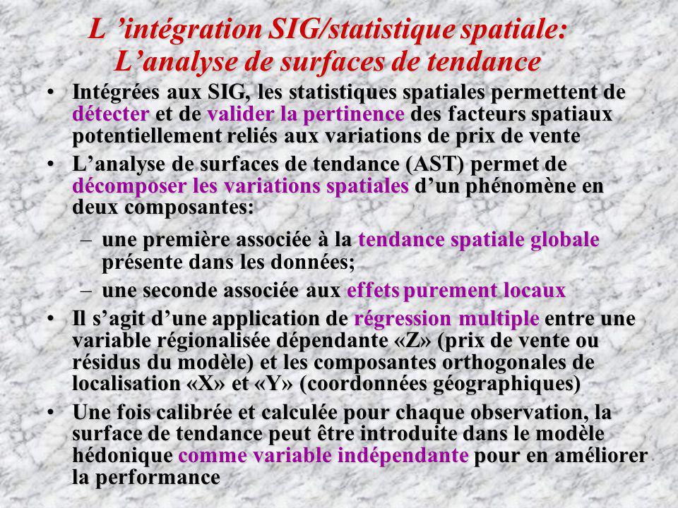 L intégration SIG/statistique spatiale: Lanalyse de surfaces de tendance Intégrées aux SIG, les statistiques spatiales permettent de détecter et de va
