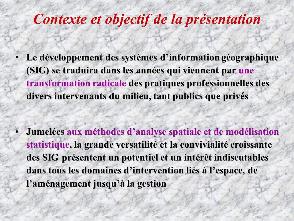 Contexte et objectif de la présentation Le développement des systèmes dinformation géographique (SIG) se traduira dans les années qui viennent par une