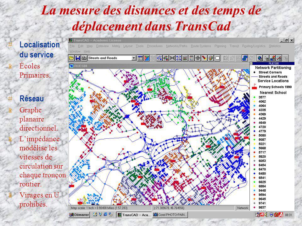 La mesure des distances et des temps de déplacement dans TransCad Localisation du service 2 Écoles Primaires. Réseau 2 Graphe planaire directionnel. 2