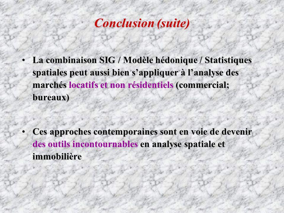 Conclusion (suite) La combinaison SIG / Modèle hédonique / Statistiques spatiales peut aussi bien sappliquer à lanalyse des marchés locatifs et non ré
