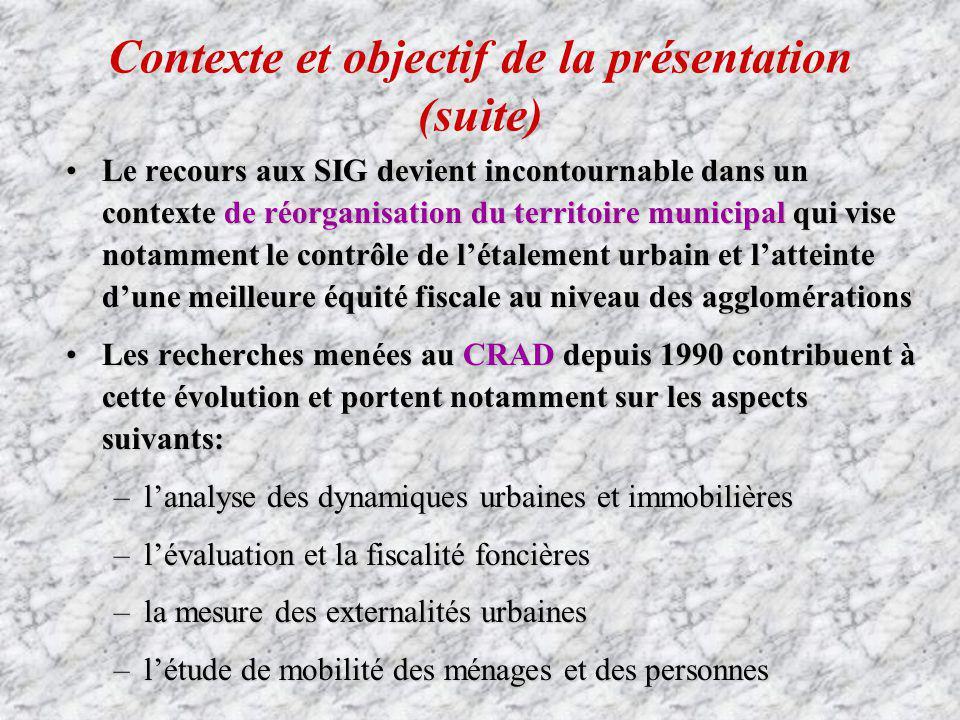 Contexte et objectif de la présentation (suite) Le recours aux SIG devient incontournable dans un contexte de réorganisation du territoire municipal q