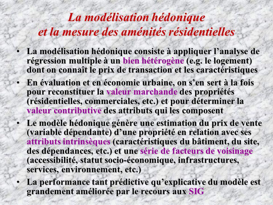 La modélisation hédonique et la mesure des aménités résidentielles La modélisation hédonique consiste à appliquer lanalyse de régression multiple à un