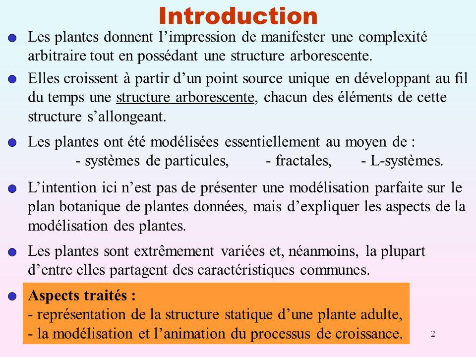 2 Introduction Les plantes donnent limpression de manifester une complexité arbitraire tout en possédant une structure arborescente.