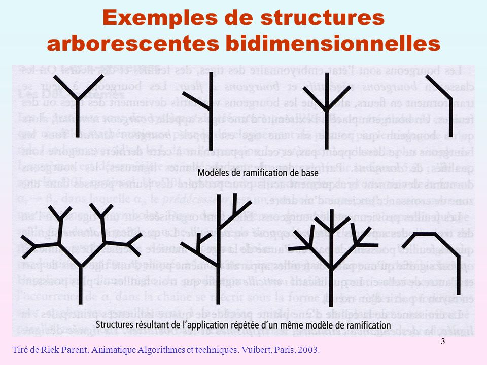 3 Exemples de structures arborescentes bidimensionnelles Tiré de Rick Parent, Animatique Algorithmes et techniques. Vuibert, Paris, 2003.