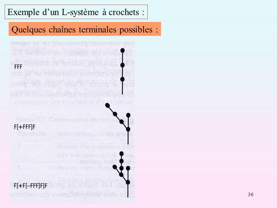 36 Exemple dun L-système à crochets : Quelques chaînes terminales possibles :