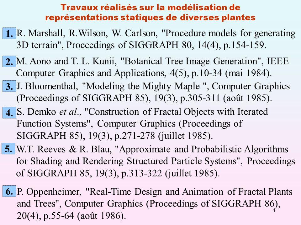 4 Travaux réalisés sur la modélisation de représentations statiques de diverses plantes M.